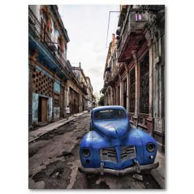 Αφίσα (Κούβα, αυτοκίνητο, Comparison, μπλε, δρόμοι)